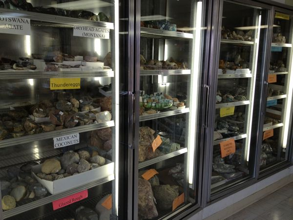 Many of the rocks are displayed in old freezer cases. How clever!