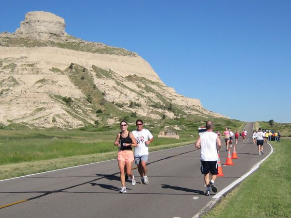 The participants in the Don Childs run during Oregon Trail Days are a small portion of the folks who run Old Oregon Trail through the park on a regular basis.