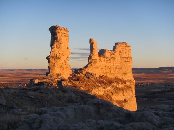 Chimney Rock, warmed in temperature and color by the unseasonably balmy winter sun.