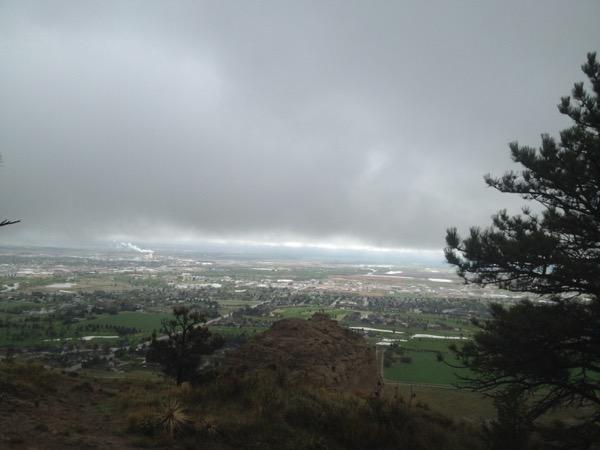 The clouds began breaking up over the valley and town below. It all looked so green!