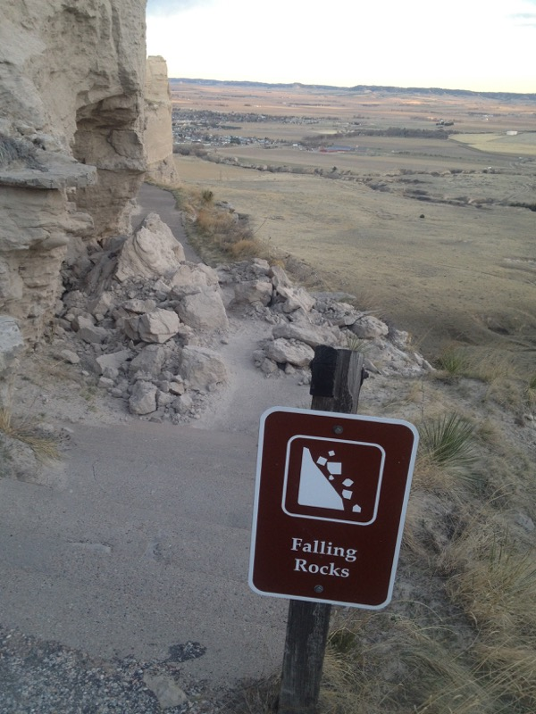 A picture I took in May of a smaller rock slide on the upper trail near the steps. This section of trail is closed for another reason.