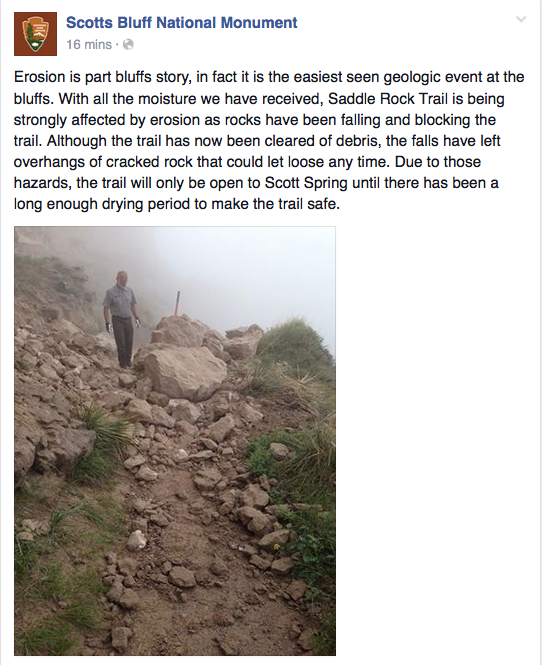 A May 27 Facebook post, which shows the results of a rockslide on the lower trail in the same place that's currently affected.