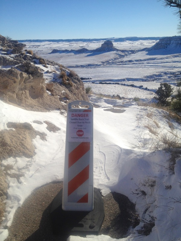 I was ever so glad to see that the snow was unblemished and people weren't being stupid and hiking beyond the sign.