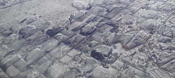 pivot aerial snowscape