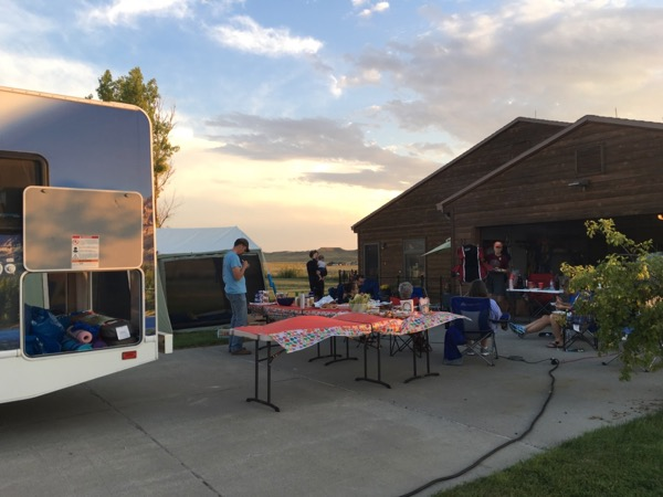 RV tent and tables